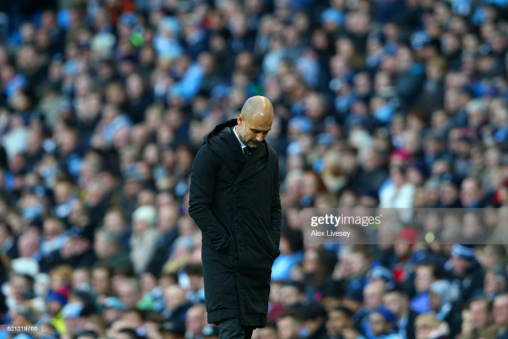 Josep Guardiola, Manager of Manchester City reacts to Middlesbrough scoring during the Premier League match between Manchester City and Middlesbrough at Etihad Stadium on November 5, 2016 in Manchester, England.