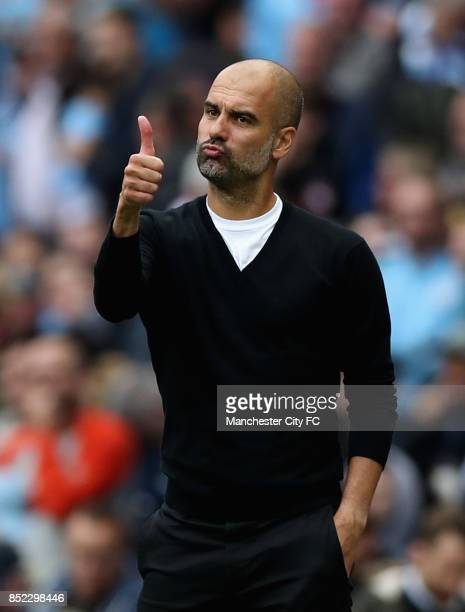 Josep Guardiola Manager of Manchester City shows appreciation to the fans during the Premier League match between Manchester City and Crystal Palace...