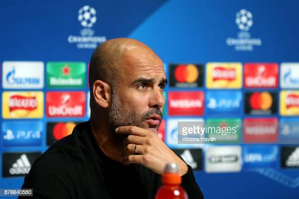 Josep Guardiola Manager of Manchester City speaks during a Manchester City Press Conference ahead of the Champions League group F match between...