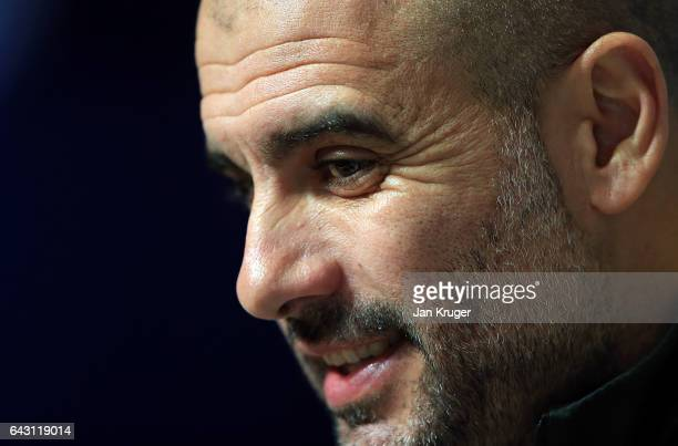Josep Guardiola of Manchester City answers questions from the media during the Manchester City Training and Press Conference at Etihad Campus on...