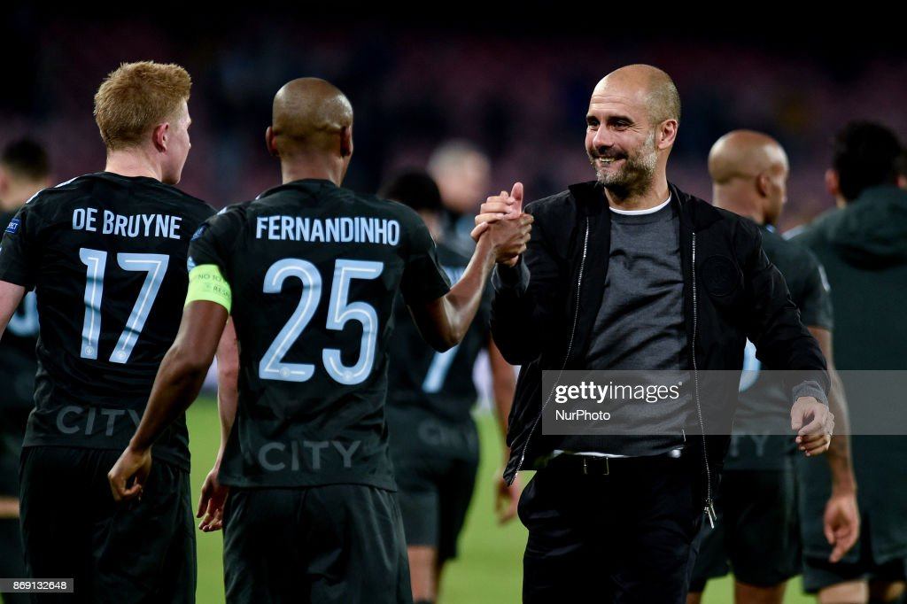 Josep Guardiola of Manchester City celebrates the victory during the UEFA Champions League match between Napoli v Manchester City at San Paolo Stadium, Naples, Italy on 1 November 2017.