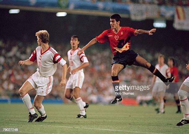 Josep Guardiola of Spain shoots for goal during the final of the football competition at the 1992 Summer Olympics at the Camp Nou in Barcelona Spain...