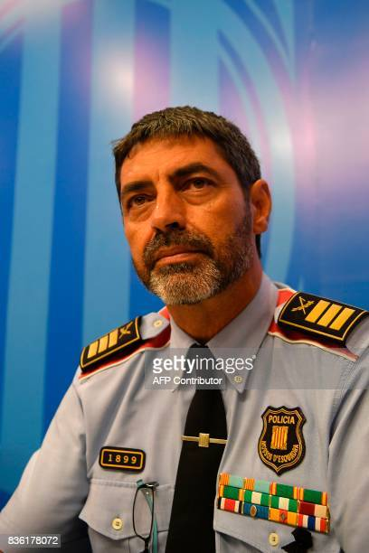 Josep Lluis Trapero chief of the Catalan regional police 'Mossos D'Esquadra' gives a press conference in Barcelona on August 21 2017 Spanish police...