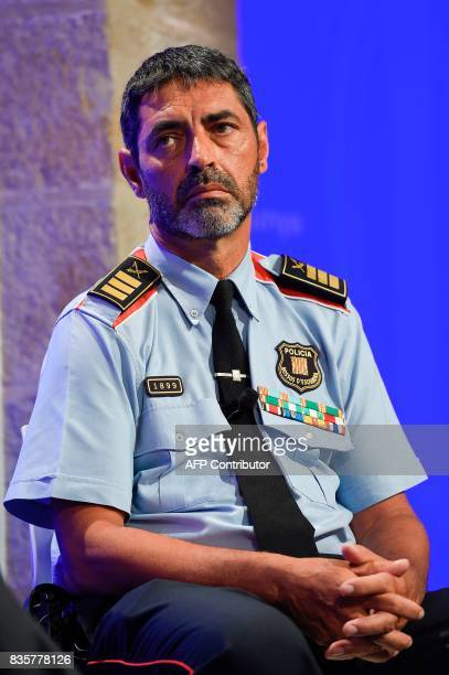 Josep Lluis Trapero chief of the Catalan regional police 'Mossos D'Esquadra' takes part in a press conference at the Generalitat in Barcelona on...