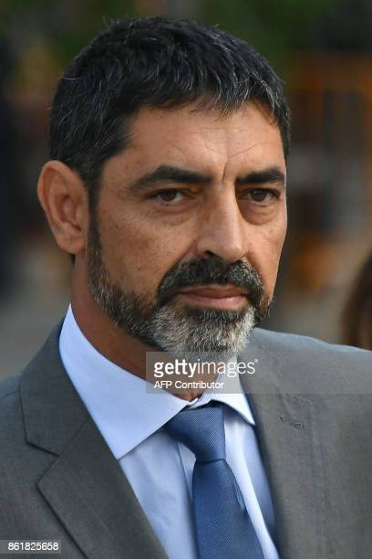 Josep Luis Trapero chief of the Catalan police Mossos d'Esquadra who is under investigation for sedition arrives at the High Court in Madrid on...