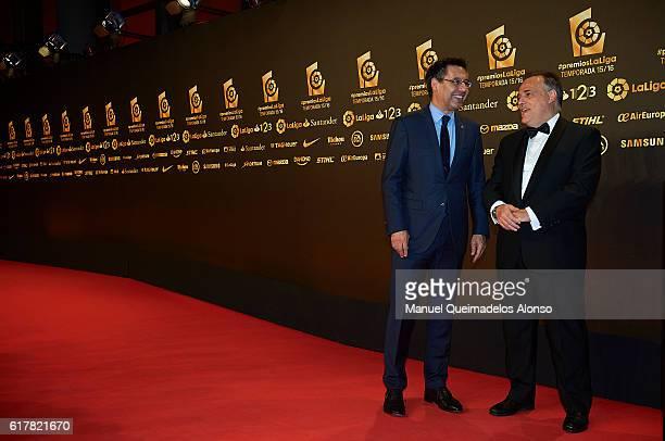Josep Maria Bartomeu and Javier Tebas attend the LFP Soccer Awards Gala 2016 at Palacio de Congresos on October 24 2016 in Valencia Spain