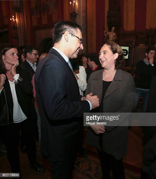 Josep Maria Bartomeu and Mayor of Barcelona Ada Colau attend the Golden Medal of Merit for Johan Cruyff Event at the Salo de Cent in the Barcelona's...