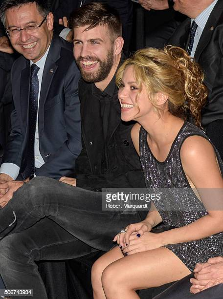 Josep Maria Bartomeu Gerard Pique and Shakira attend the 'Festa De Esport Catala 2016 awards' on January 25 2016 in Barcelona Spain