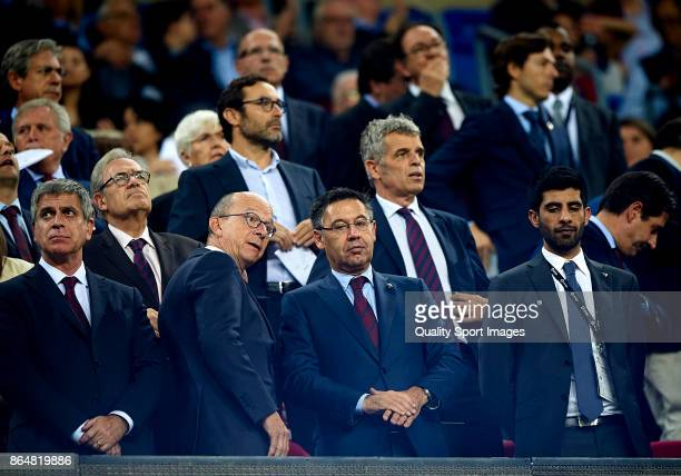 Josep Maria Bartomeu president of Barcelona looks on prior the La Liga match between Barcelona and Malaga at Camp Nou on October 21 2017 in Barcelona...