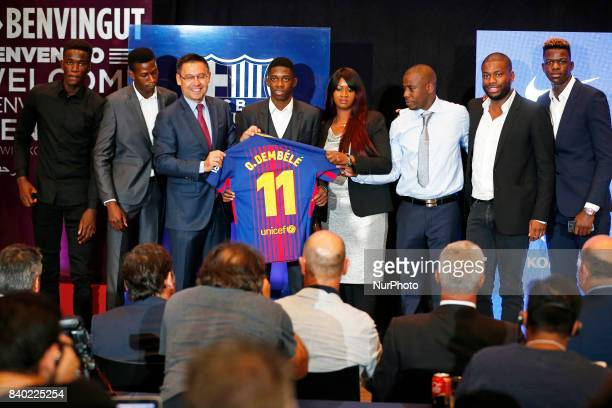 Josep Maria Bartomeu president of FC Barcelona and the family of the player during the presentation of Oumane Dembele as new player of FC Barcelona...