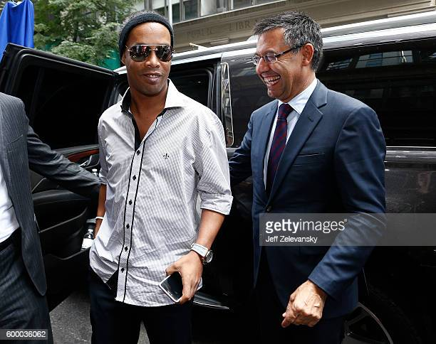 Josep Maria Bartomeu President of FC Barcelona arrives at Smithfield Hall with Ronaldinho for a luncheon to celebrate FC Barcelona's arrival to New...
