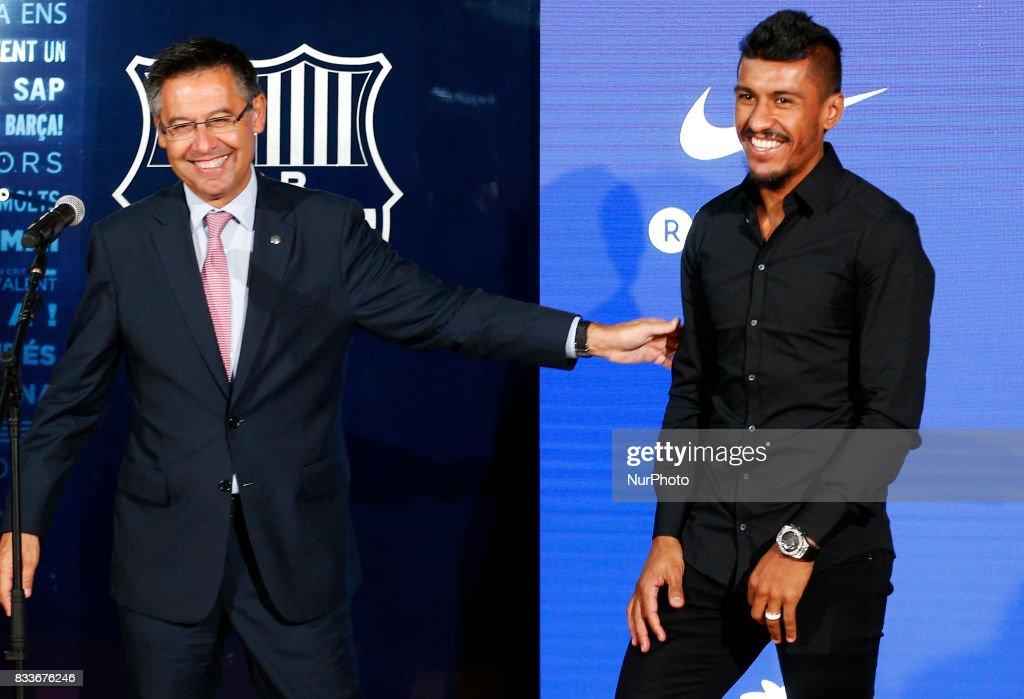 Josep Maria Bartomeu, president of FC Barcelona, during the presentation of Paulinho as new player of FC Barcelona, in Barcelona, on August 17, 2017. Photo: JoanValls/Urbanandsport/Nurphoto --