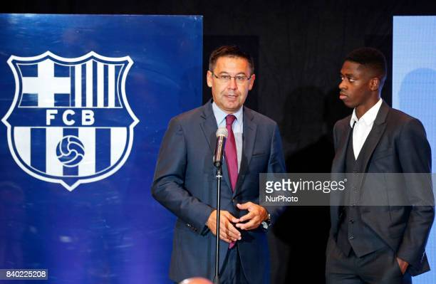 Josep Maria Bartomeu president of FC Barcelona during the presentation of Oumane Dembele as new player of FC Barcelona in Barcelona on August 28 2017