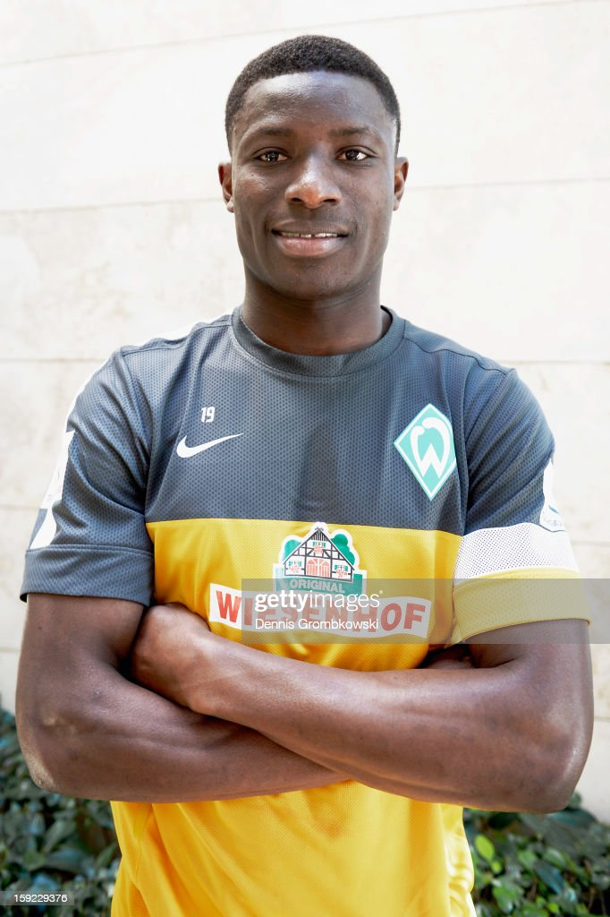 Joseph Akpala of Bremen poses after a media talk at day six of the Werder Bremen Training Camp on January 10, 2013 in Belek, Turkey.