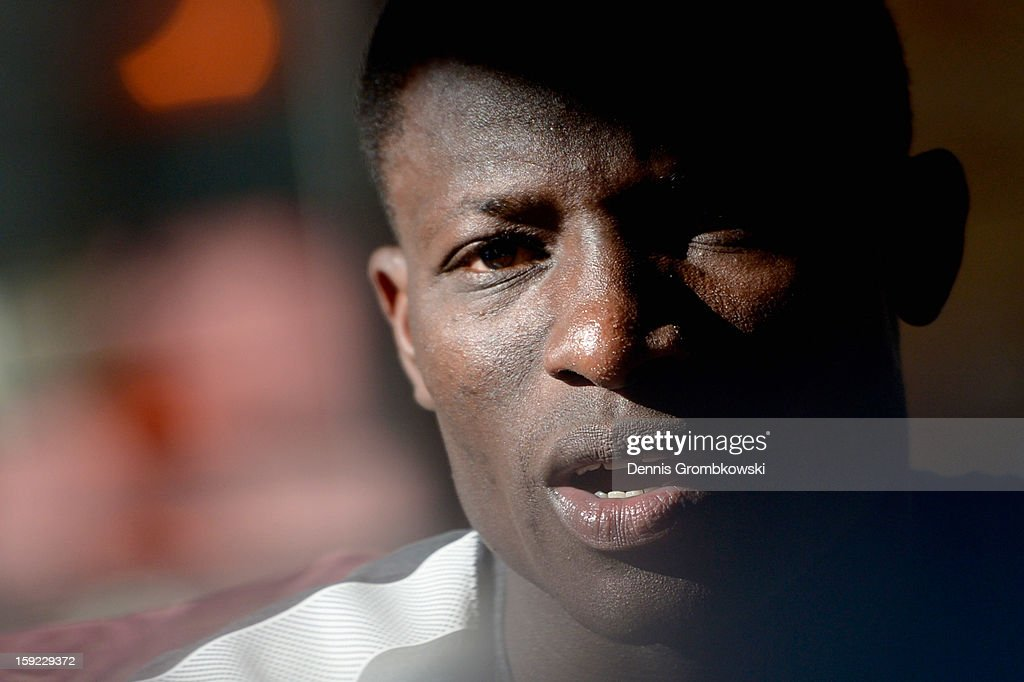Joseph Akpala of Bremen talks during a media talk at day six of the Werder Bremen Training Camp on January 10, 2013 in Belek, Turkey.