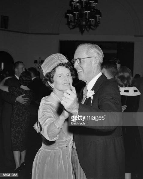 Joseph and Rose Kennedy parents of groom Edward Kennedy dance during the reception for their son's wedding to Joan Bennett 1958 New York