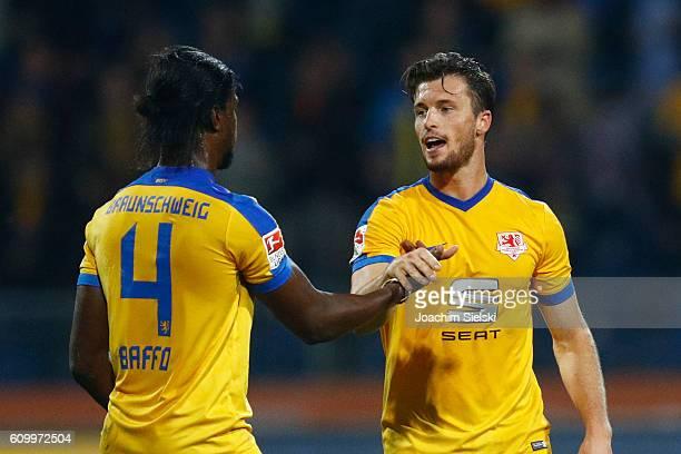 Joseph Baffo and Quirin Moll of Braunschweig after the Second Bundesliga match between Eintracht Braunschweig and Fortuna Duesseldorf at Eintracht...