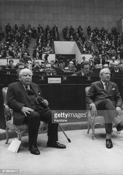 Joseph Bech formerly Prime Minister of Luxembourg and President of the Council of Europe with British Prime Minister Edward Heath circa 1972