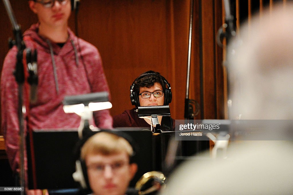 Joseph Bell at the GRAMMY Foundation(R)'s GRAMMY Camp(R) - Jazz Session studio recording at Capitol Studios & Mastering at Capitol Records Studio on February 12, 2016 in Hollywood, California.