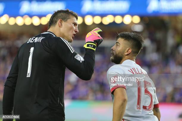 Joseph Bendik of Orlando City SC yells at Hector Villalba of Atlanta United after a late shot attempt on goal during a MLS soccer match between...