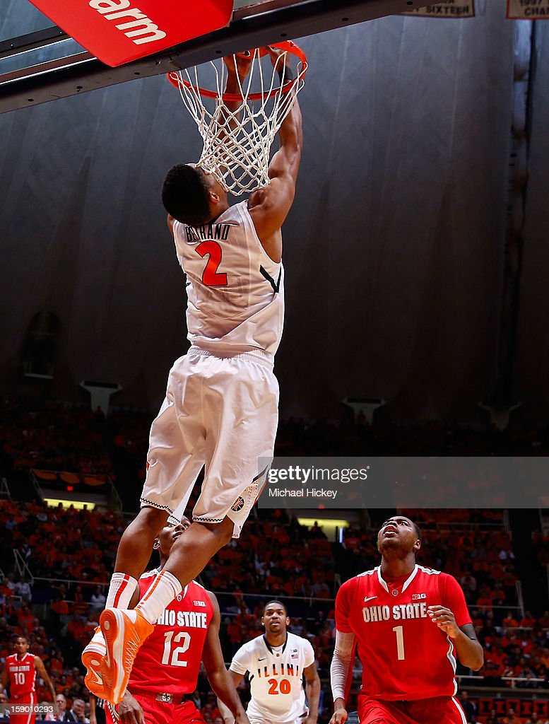 Joseph Bertrand #2 of the Illinois Fighting Illini dunks the ball against the Ohio State Buckeyes at Assembly Hall on January 5, 2013 in Champaign, Illinois. Ilinois defeated Ohio State 74-55.