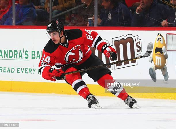 Joseph Blandisi of the New Jersey Devils skates against the Columbus Blue Jackets during the game at Prudential Center on March 19 2017 in Newark New...