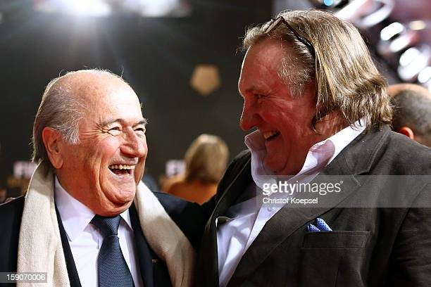Joseph Blatter FIFA president and actor Gerard Depardieu pose during the red carpet arrivals for the FIFA Ballon d'Or Gala 2012 on January 7 2013 at...