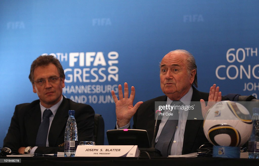 Joseph Blatter President of FIFA and <a gi-track='captionPersonalityLinkClicked' href=/galleries/search?phrase=Jerome+Valcke&family=editorial&specificpeople=4375385 ng-click='$event.stopPropagation()'>Jerome Valcke</a> Secretary General of FIFA talks to the media at a Post-FIFA Congress Executive Committee media conference at the Sandton Sun Hotel on June 10, 2010 in Sandton, South Africa.