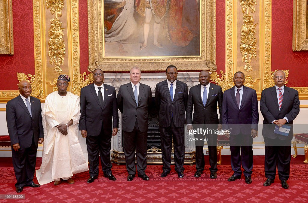 Joseph Boakai Vice President of Liberia, Olusegun Obasanjo former president of Nigeria, Peter Mutharika President of Malawi, Prince Andrew, Duke of York, Hage Geingob President of Namibia, Akinwunmi Ambode Governor of Lagos State, Aliko Dangote and Mr Abdisalam Omer Somalia Foreign Affairs Minister during the London Global African Investment Summit at St James' Palace on December 1, 2015 in London, England.