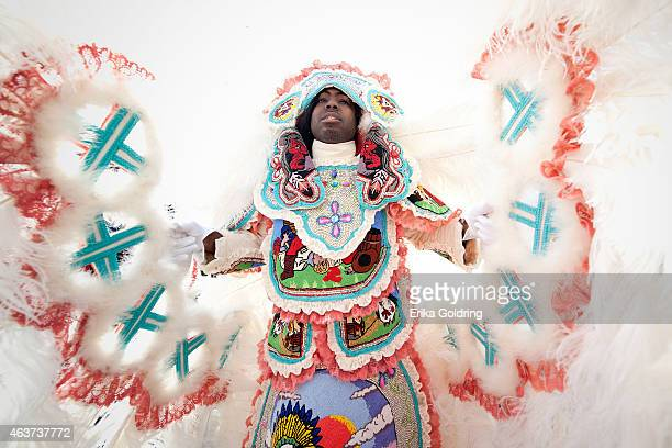 Joseph Boudreaux 2nd Chief of the Golden Eagles Mardi Gras Indians masks on February 17 2015 in New Orleans Louisiana
