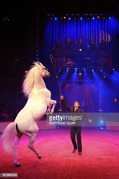 FRENCH Joseph Bouglione performs with his horse during a rehearsal of the circus show 'Festif' at the Cirque d'Hiver Bouglione on October 23 2009 in...