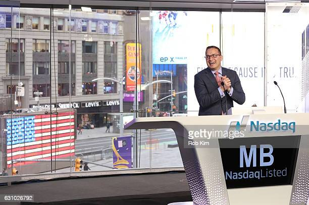 Joseph Brantuk Vice President and head of the New Listings and IPOs at NASDAQ OMX's Corporate Client Group makes an intro at the Opening Bell at...