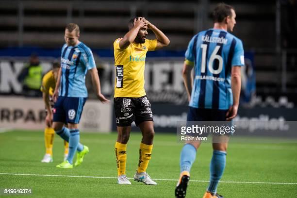 Joseph Ceesay of Djurgardens IF dejected after the Allsvenskan match between IF Elfsborg and Djurgardens IF at Boras Arena on September 19 2017 in...