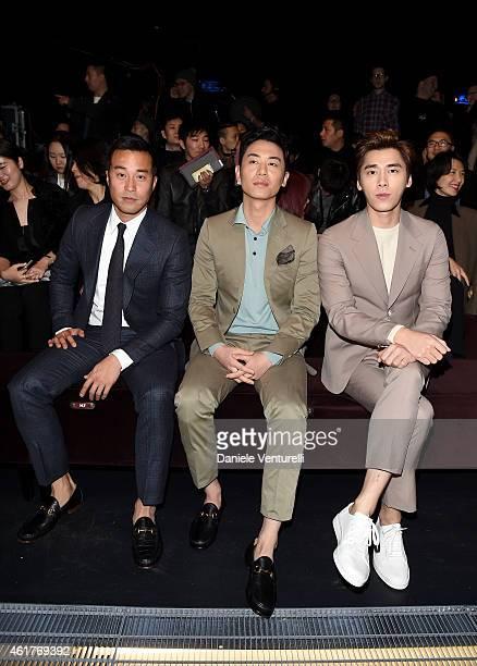 Joseph Chang Zhu Yawen and Li Yi Feng attend the Gucci show as a part of Milan Menswear Fashion Week Fall Winter 2015/2016 on January 19 2015 in...