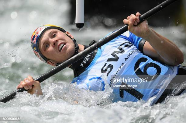 Joseph Clarke of Great Britain competes during the Kayak Single Men's Semifinal of the ICF Canoe Slalom World Cup on June 24 2017 in Augsburg Germany