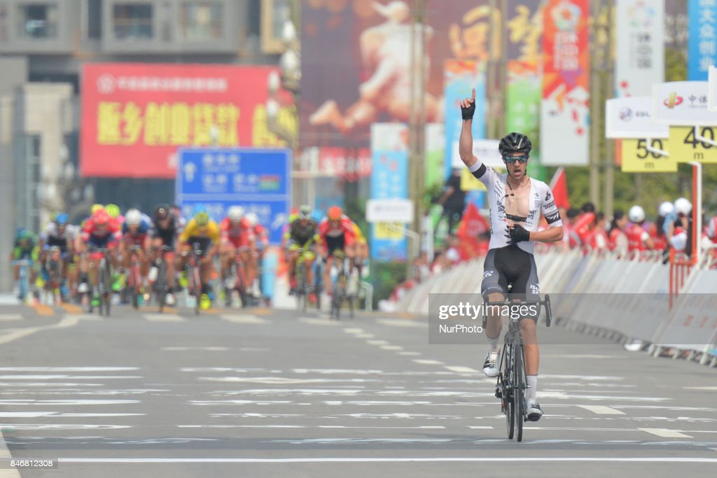 Joseph Cooper from Isowhey Sports Swisswellness team crosses the finish line and wins the third stage of the 2017 Tour of China 1, the 140.6 km of Pingchang Circuit Race. On Thursday, 14 September 2017, in Pingchang County, Bazhong City, Sichuan Province, China.