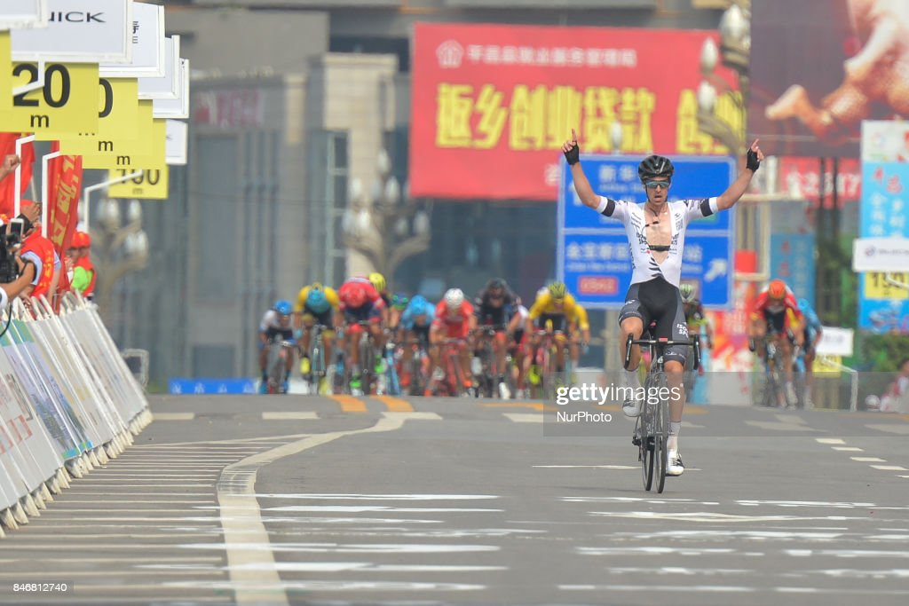 Joseph Cooper from Isowhey Sports Swisswellness team on his way to win the third stage of the 2017 Tour of China 1, the 140.6 km of Pingchang Circuit Race. On Thursday, 14 September 2017, in Pingchang County, Bazhong City, Sichuan Province, China.