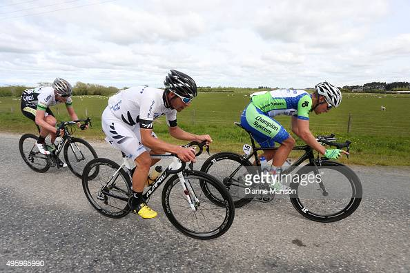 Joseph Cooper of Wellington Matt Zenovich of Invercargill and Nick Bain of Auckland out front of the lead group heading to Gore during stage five of...