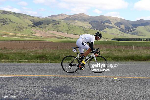 Joseph Cooper of Wellington wears his New Zealand jersey heading to Queenstown in stage four of the Tour of Southland on November 5 2015 in...