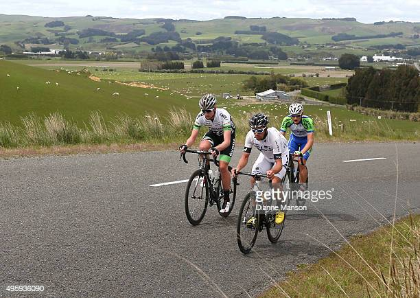 Joseph Cooper out front of the breakaway group to Gore during stage five of the Tour of Southland on November 6 2015 in Invercargill New Zealand