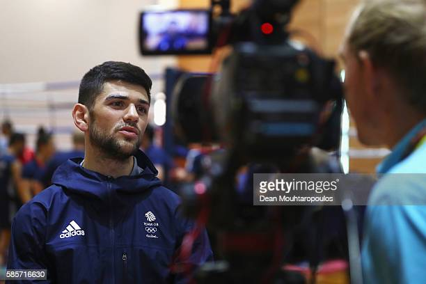 Joseph Cordina of Great Britain or Team GB from the mens Boxing Team speaks to TV during the Olympics preview day 2 at The British School on August 3...