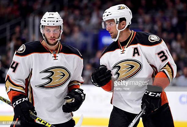 Joseph Cramarossa and Nate Guenin of the Anaheim Ducks talk during a preseason game against the Los Angeles Kings at Staples Center on September 28...