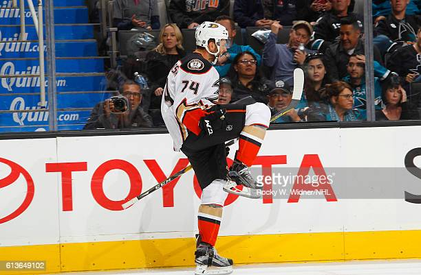 Joseph Cramarossa of the Anaheim Ducks celebrates after scoring a goal against the San Jose Sharks at SAP Center on October 5 2016 in San Jose...