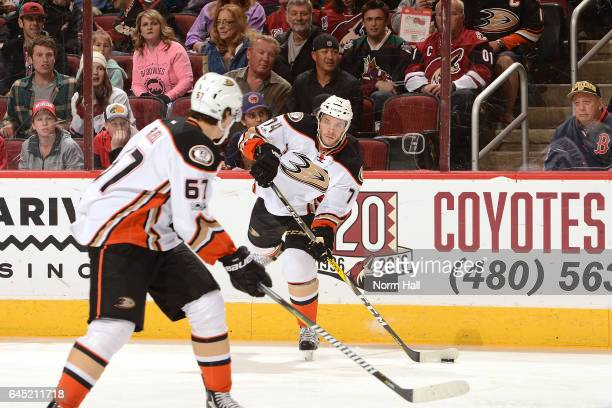 Joseph Cramarossa of the Anaheim Ducks passes the puck against the Arizona Coyotes at Gila River Arena on February 20 2017 in Glendale Arizona