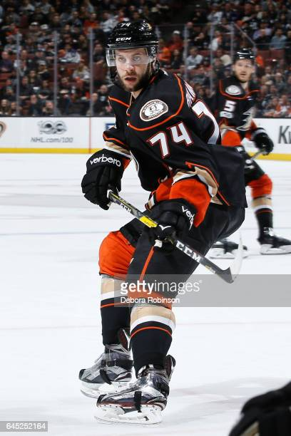 Joseph Cramarossa of the Anaheim Ducks skates during the game against the Los Angeles Kings on February 19 2017 at Honda Center in Anaheim California