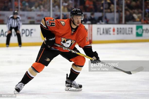 Joseph Cramarossa of the Anaheim Ducks skates during the third period of a game against the Boston Bruins at Honda Center on February 22 2017 in...