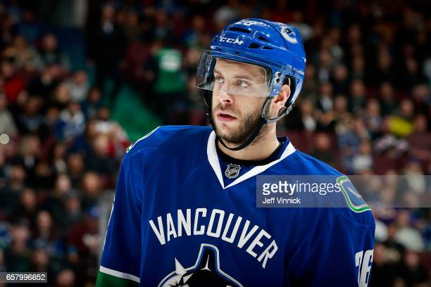 Joseph Cramarossa of the Vancouver Canucks skates up ice during their NHL game against the Boston Bruins at Rogers Arena March 13 2017 in Vancouver...