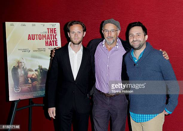 Joseph Cross Richard Schiff and Justin Lerner attend the premiere of 'The Automatic Hate' at Laemmle Monica Film Center on March 11 2016 in Santa...