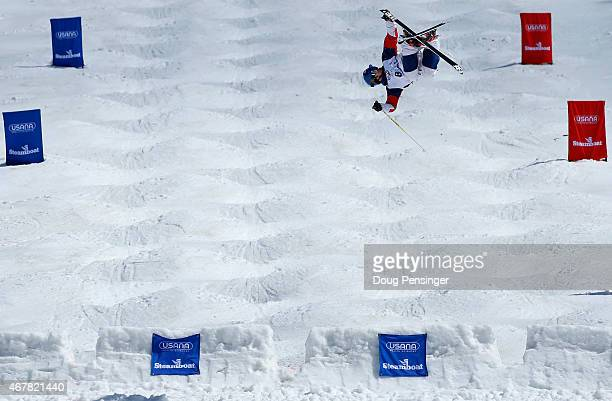 Joseph Discoe goes airborne as he skis to second place in the men's moguls at the 2015 US Freestyle Ski Championships at the Steamboat Ski Resort on...