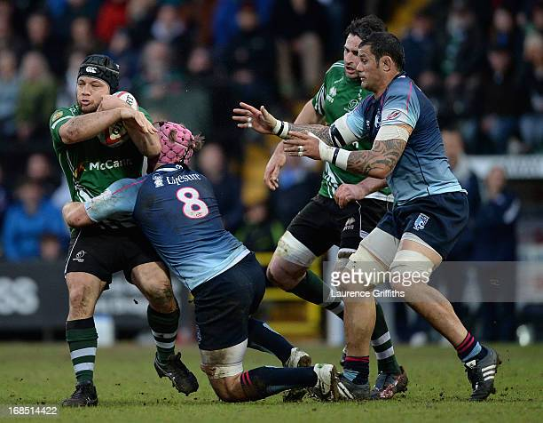 Joseph Duffy of Nottingham Rugby is tackled by Nick FentonWell of Bedford during the RFU Championship Play Off Semi Final Second Leg match between...